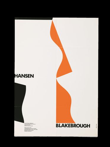 90/239 Poster, 'Hansen/ Blakebrough', paper, promoting the exhibition at The Craft Centre, Melbourne, designed by Arthur Leydin, Australia, 1975