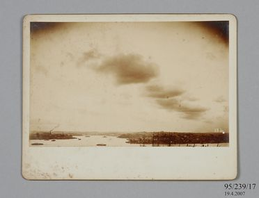 95/239/17 Photographic print, mounted on card, cumulus cloud formations over Sydney Observatory, paper / albumen emulsion, photographer James Short and Henry Chamberlain Russell, Sydney, New South Wales, Australia, 1880-1900