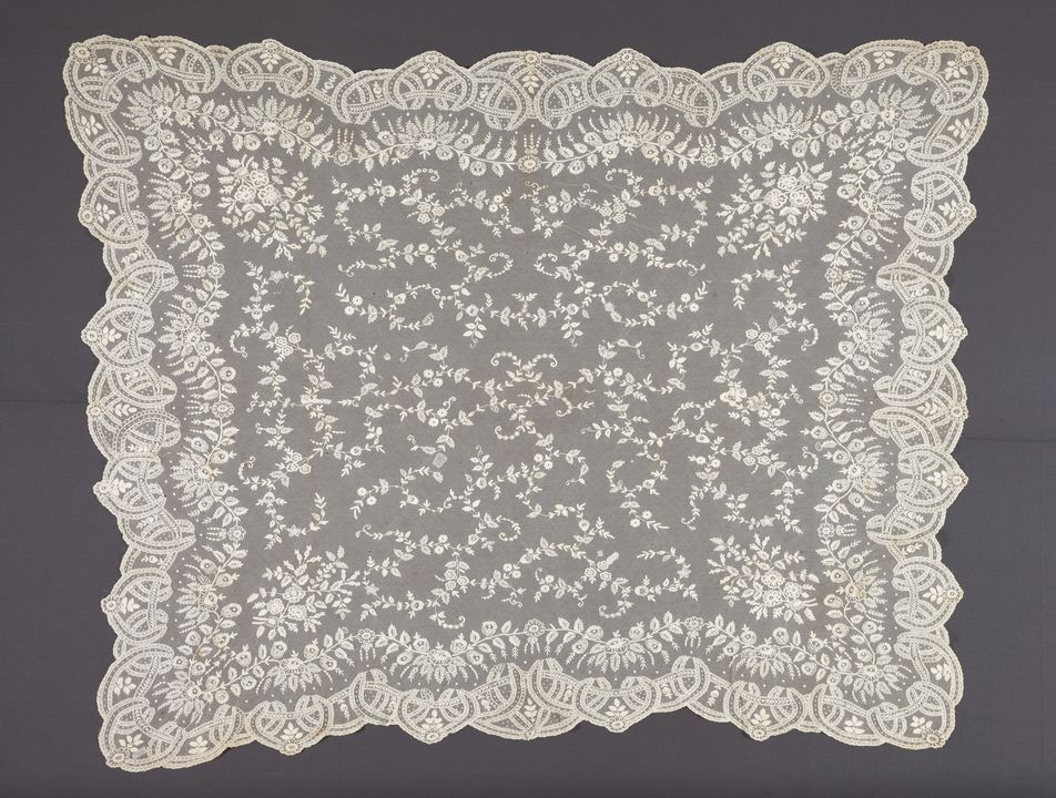 2007/166/1 Wedding veil, tamboured machine made net, cotton, maker unknown, probably Ireland, c. 1865. Click to enlarge.