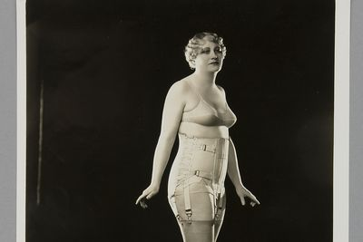 P3645-41/1 Photographic print, black & white, model wearing Berlei girdle and brassiere, Berlei Ltd, Sydney, New South Wales, Australia, c. 1930