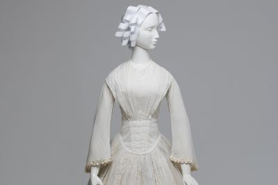 A8371 Wedding dress, and photographic prints (2), cotton / paper, maker and photographer unknown, dress thought to have been worn by the mother or mother-in-law of Margaret White (nee Fletcher) of Saumarez, [Uralla / Armidale, New South Wales, Australia], [1845-1855]