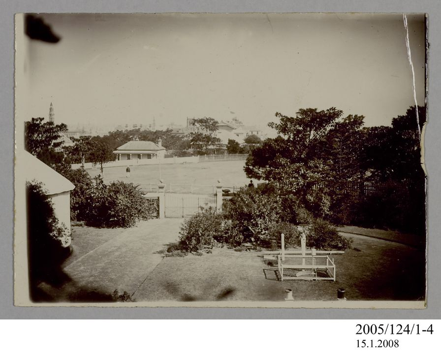 2005/124/1-4 Photograph, part of collection owned by James Short, sepia toned, looking south from Sydney Observatory towards Messengers Cottage, paper, photographer unknown, Sydney, New South Wales, Australia, possibly 1890. Click to enlarge.