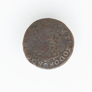 N21359-4 Coin, Netherlands, Dutch East India Co, Liard, copper alloy, Liege Mint, 1745.