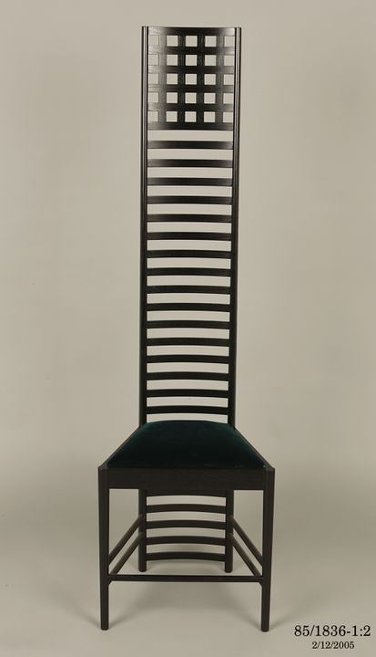 85/1836 Chair, 'Hill House,1', ebonised wood, / velvet upholstery, designed by Charles Rennie Mackintosh, Scotland, 1903-1904 and reproduced by Cassina, Italy, 1985. Click to enlarge.