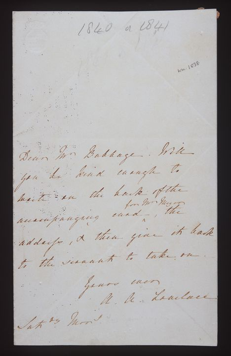 96/203/2 Letters (2), from Countess Ada Lovelace to Charles Babbage, paper, England, 1838-1847. Click to enlarge.
