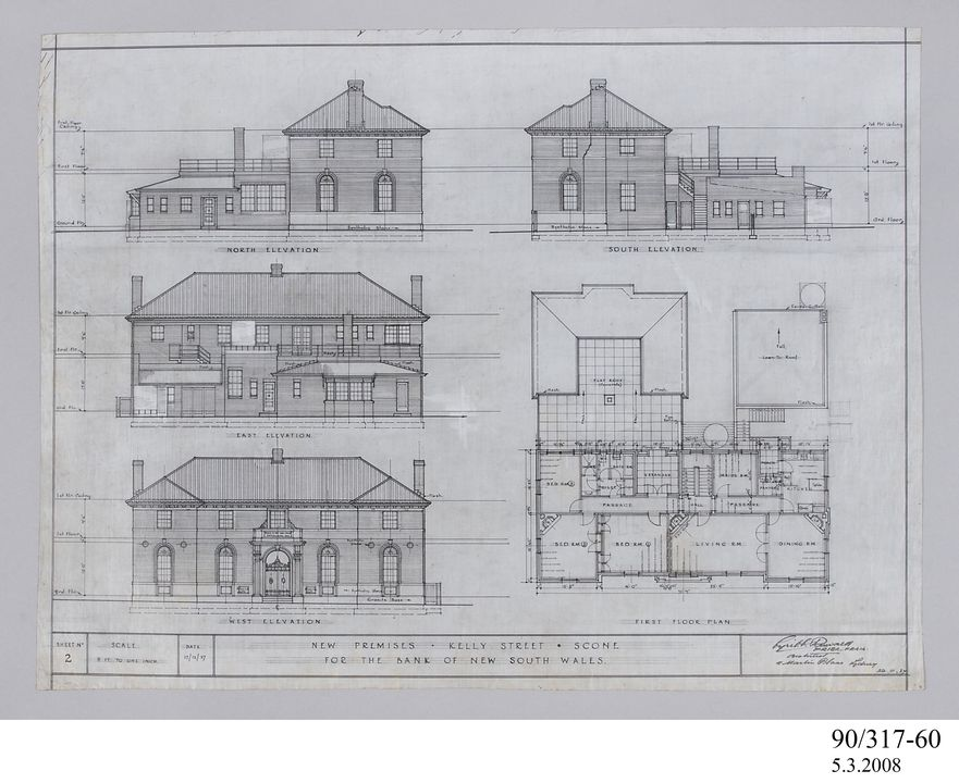 Architectural drawing, elevations and first floor plan Bank