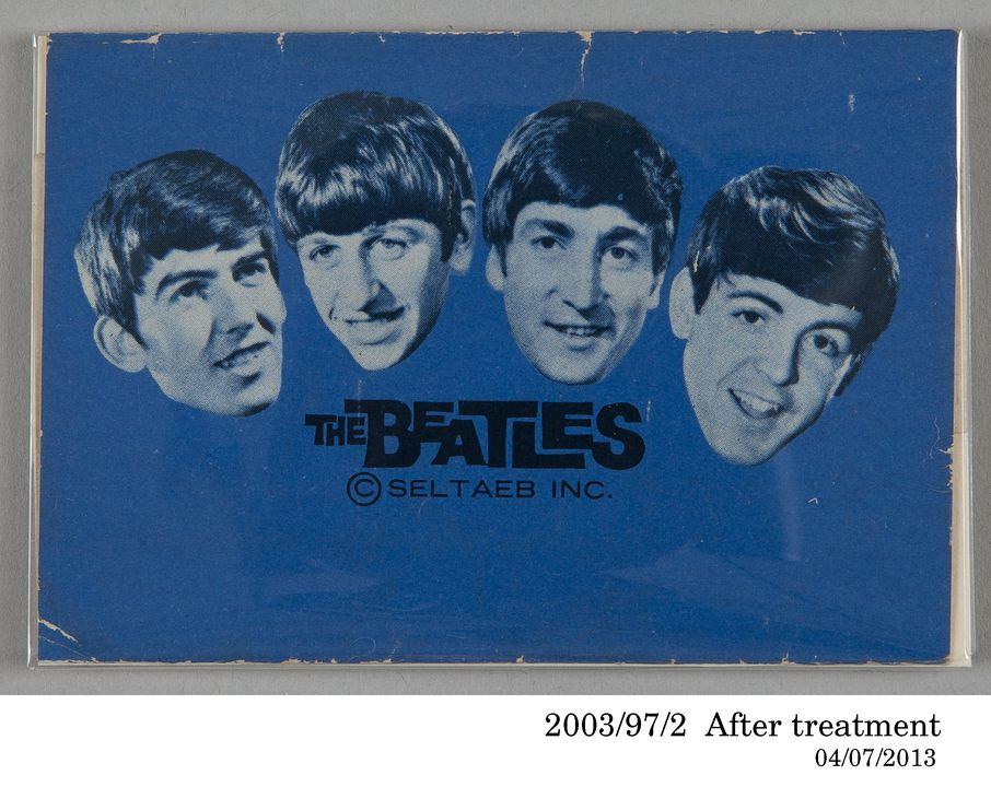 2003/97/2 Food packaging, 'MacRobertson's Superfine Milk Chocolate', featuring an image of the Beatles, paper, belonged to Beatles fan Jennie Small, Sydney, New South Wales, Australia, made by MacRobertson Pty Ltd, Melbourne, Victoria, Australia, 1964-1965. Click to enlarge.
