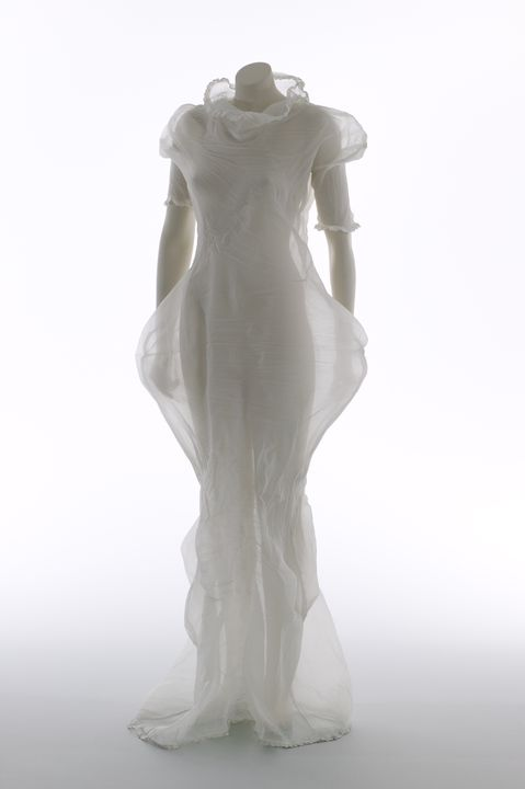 2005/130/1 Evening dress and packaging, womens, polyester / plastic, designed by Yoshiki Hishinuma, Tokyo, Japan, 2000. Click to enlarge.