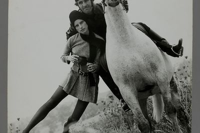 2009/43/1-2/38 Photographic print, fashion, black and white, mounted on card, Ninette, models Yvonne Goederman and Terry Scott, location Kangaroo Ground, Victoria, photograph by Bruno Benini, Melbourne, Victoria, Australia, 1970