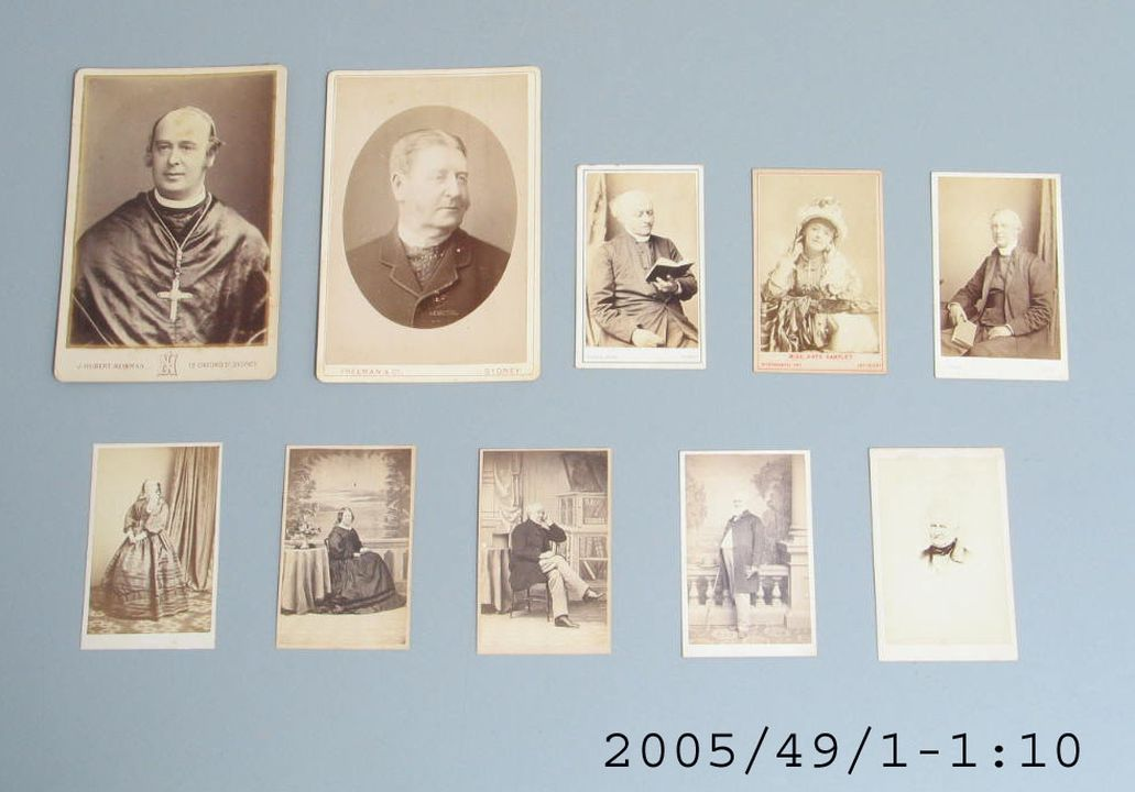 2005/49/1 Cartes de visite (10), various subjects, paper / cardboard, various photographic studios, Australia / England, 1875-1900. Click to enlarge.