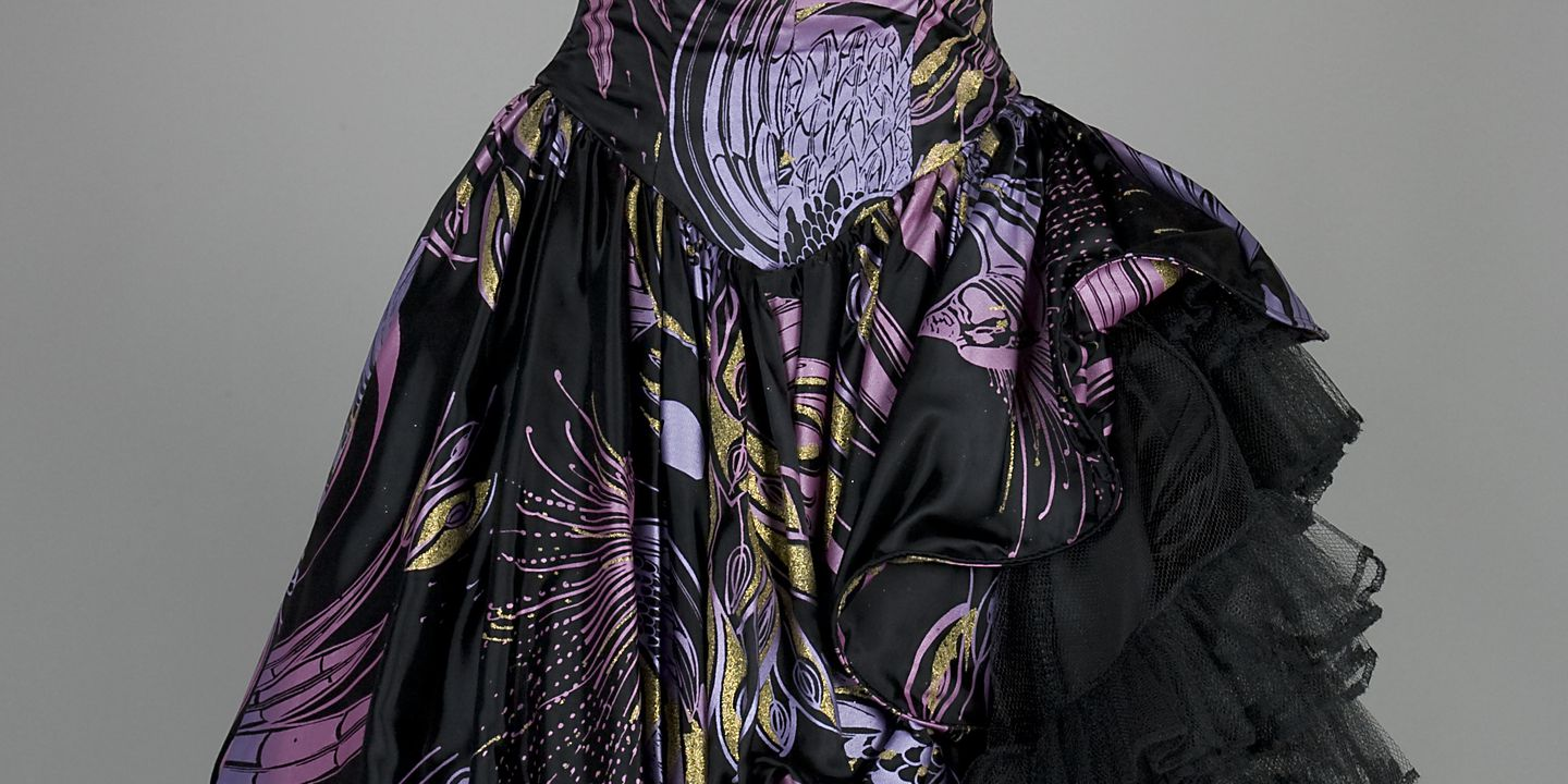 2004/146/2 Dress, womens, screen printed polyester / polyester satin / metal, designed and made by Janelle Smith, David Miles and Wendy Arnold for their label Studibaker Hawk, Sydney, New South Wales, Australia, 1984 - 1990.. Click to enlarge.