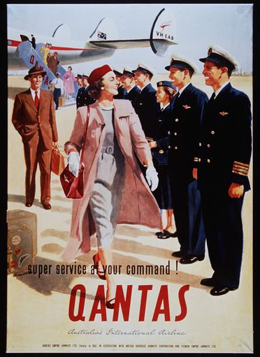 90/688 Poster, colour photolithograph, paper / linen, designed by Maullson, Australia, commissioned by Qantas Empire Airways, Sydney, New South Wales, Australia, 1954