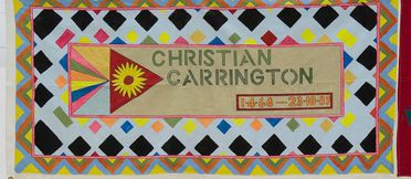2011/109/1-1 Quilt panel, part of Australian AIDS Memorial Quilt, in memory of Christian Carrington, calico / fabric paint, made by a friend at the Parramatta Day Centre and support group, Parramatta Hospital, Parramatta, New South Wales, Australia, 1989-1990