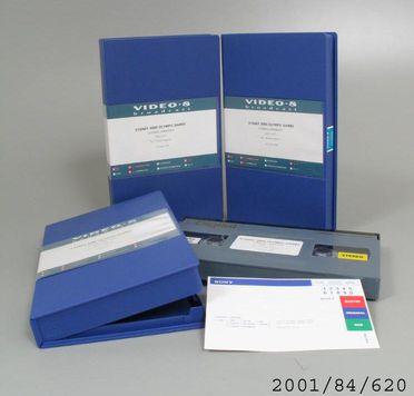 2001/84/620 Beta Cam cassette tapes (3), closing ceremony of the Sydney Olympic Games, in cases, plastic / paper / metal tape, footage produced by the Sydney Olympic Broadcasting Organisation for the Sydney Organising Committee of the Olympic Games, Sydney, New South Wales, Australia, cassettes and
