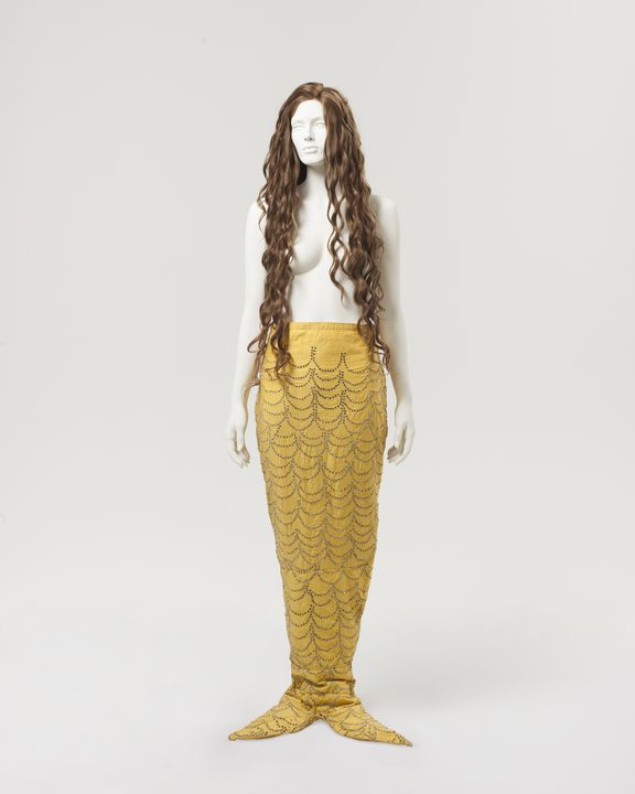 2000/66/4 Performance costume, mermaid tail, cotton / diamantes, maker unknown, United States of America, used by Annette Kellerman, United States of America / Europe, 1906-1940. Click to enlarge.