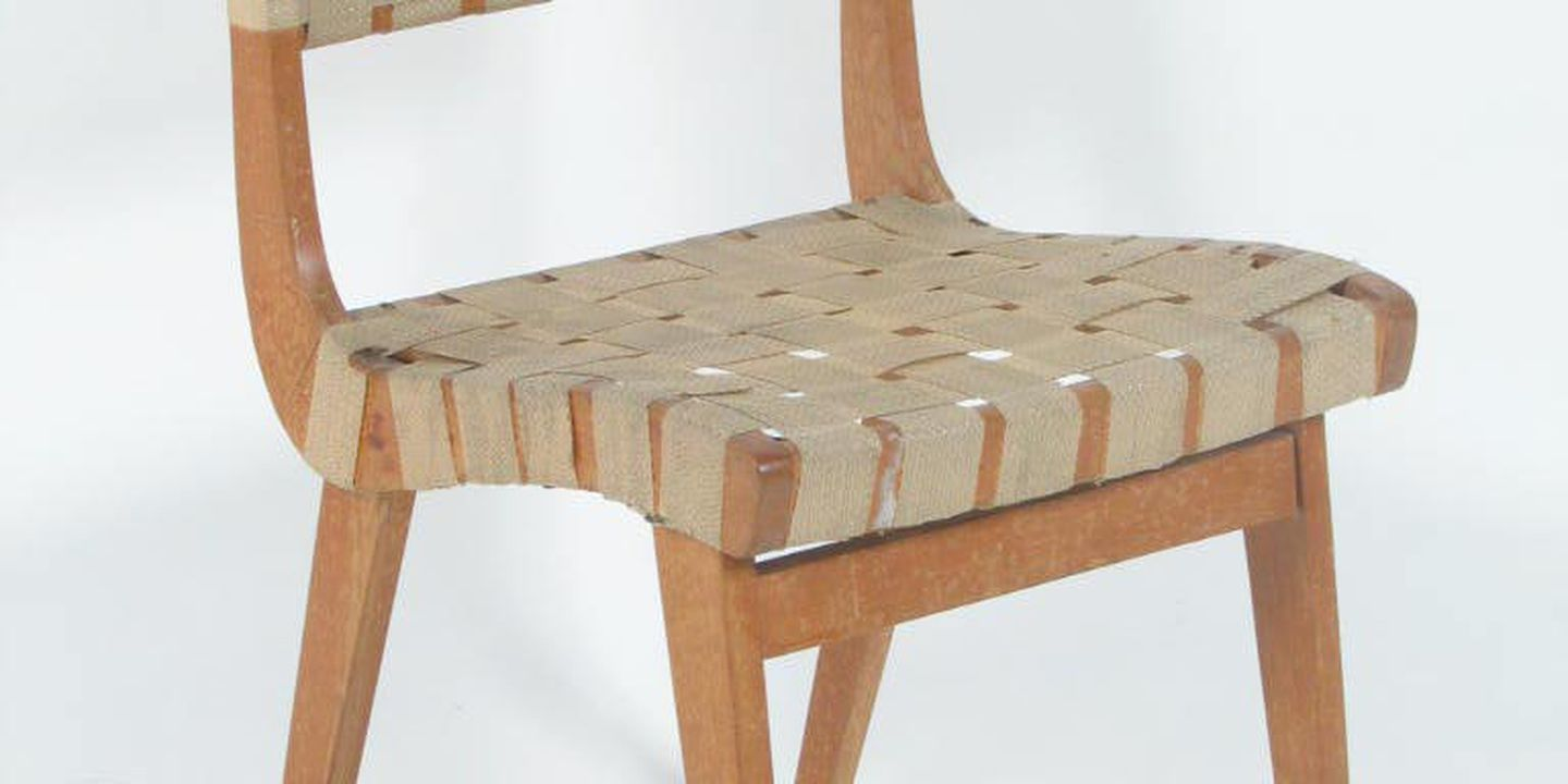 A9834 dining chair australian hardwood cotton parachute webbing designed by douglas