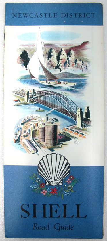 2011/73/1-2 Road map (1 of 5), 'Shell Road Guide: Newcastle District', paper, published by the Shell Touring Service, Shell Oil Company of Australia Ltd, printed by P C Grosser, Melbourne, Victoria, Australia, 1962-1965
