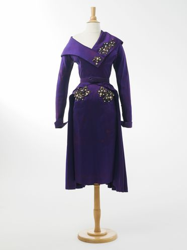 2003/59/1-5 Going-away dress, belted, beaded, silk / plastic / metal, designed and made by Beril Jents, Sydney, New South Wales, Australia, 1952