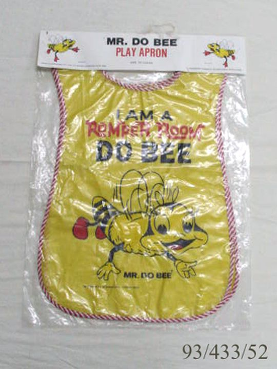 93/433/52 Play apron and packaging, childrens, 'Romper Room, Mr Do Bee play apron', cardboard / plastic, A L Lindsay & Co Pty Ltd, Australia, 1980-1989. Click to enlarge.