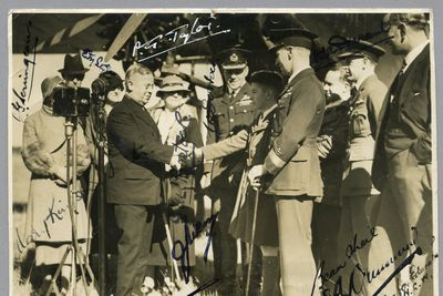 85/112-39 Photograph, black and white, handing over of the Southern Cross, paper, photographer unknown, Richmond, New South Wales, Australia, 1935