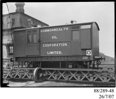 88/289-48 Photographic glass plate negative, depicting the standard gauge, 4-wheel, railway goods train brake van, No. 202, assembled by Clyde Engineering Pty Ltd, Granville, New South Wales, Australia, 1910, for the Commonwealth Oil Corporation Ltd, operated on Wolgan Valley Railway, New South Wale