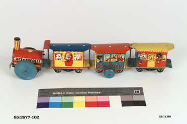 85/2577-102 Toy locomotive, 'Crazy Express', tinplate, possibly Peter Pan Company, England, c 1955