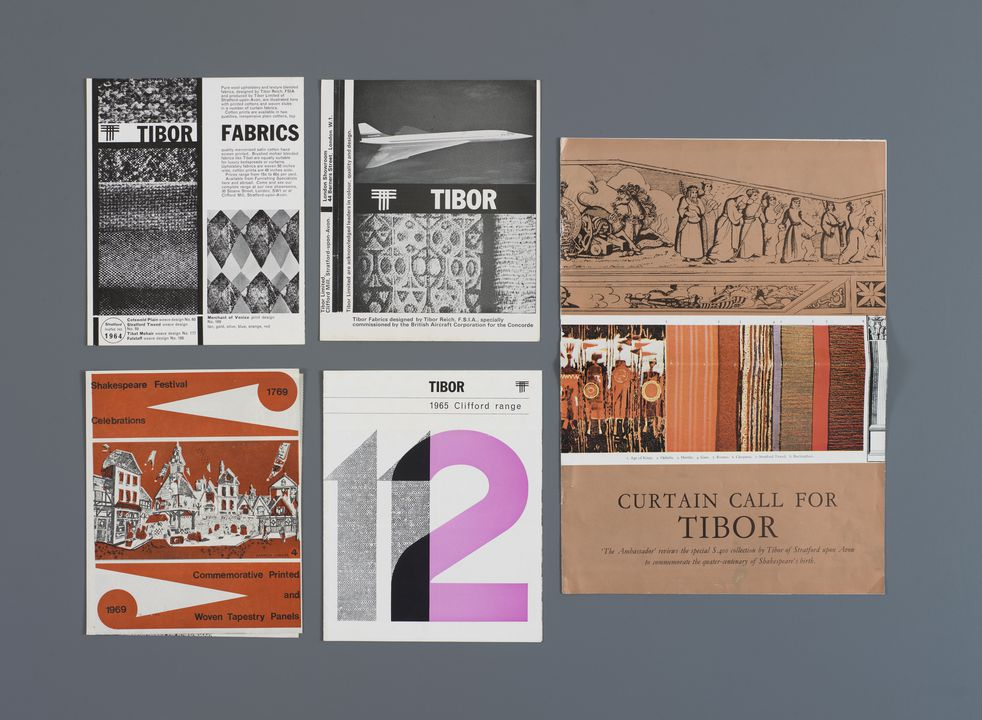 2012/70/5 Objects related to Tibor Reich including a souvenir wall hanging, brochures (5) and related articles (3), paper / cotton, made by Clifford Mills, Clifford Chambers, United Kingdom, 1964-1966. Click to enlarge.