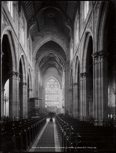 85/1284-27 Glass plate negative, full plate, 'Nave, St. Andrew's Cathedral, Sydney (Looking E)', Kerry and Co, Sydney, Australia, c. 1884-1917