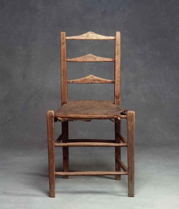90/815 Chair, [casuarina] wood/[kangaroo] leather, unknown maker, [NSW], Australia, [1830-1850].. Click to enlarge.