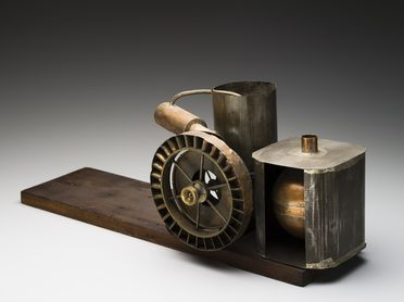 B1421 Turbine engine model, steam reaction, wood / metal, made by Lawrence Hargrave, Stanwell Park, New South Wales, Australia, 1893