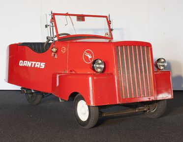 B2339 Automobile, full size, home-made electric car, in QANTAS livery, painted timber/metal/glass/rubber, made by Sir Roland Wilson, Canberra, ACT, Australia, 1942-1943, used by Sir Roland Wilson, Canberra, Australia, 1944-1947, QANTAS 1974, and the School of Applied Electricity, Department of Techn