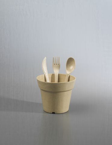 2013/4/1 Collection of cutlery (25), tableware (25) and plant pots (2), biodegradable, 'Bambooware', bamboo, maker unknown, China, 2010