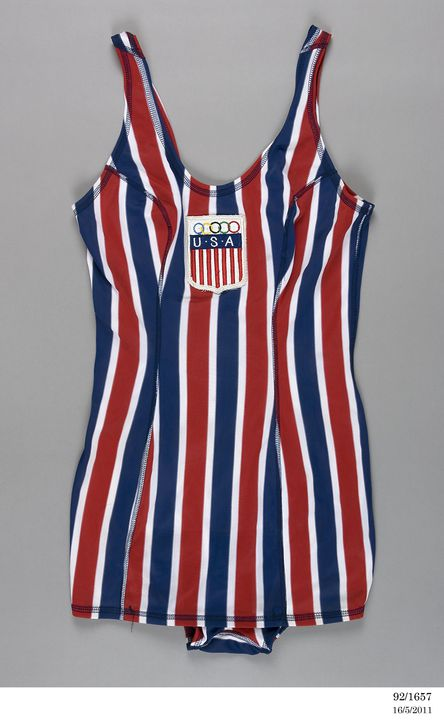 92/1657 Swimsuit, women's, 1968 Mexico Olympic Games, USA Team, nylon, Speedo, Australia, 1968. Click to enlarge.