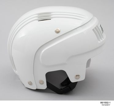 86/1692 Helmet with packaging and accessories, 'Stackhat', plastic / metal / cotton / card / paper, designed by PA Technology, made by Rosebank Products Pty Ltd, Victoria, Australia, 1986
