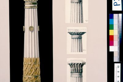 P3005-1 Design, (1 of 2), 'Stenocarpus column - Four types of Capitals', from unpublished book, 'Australian Decorative Arts', paper, made by Lucien Henry, Australia / France, 1889-1891
