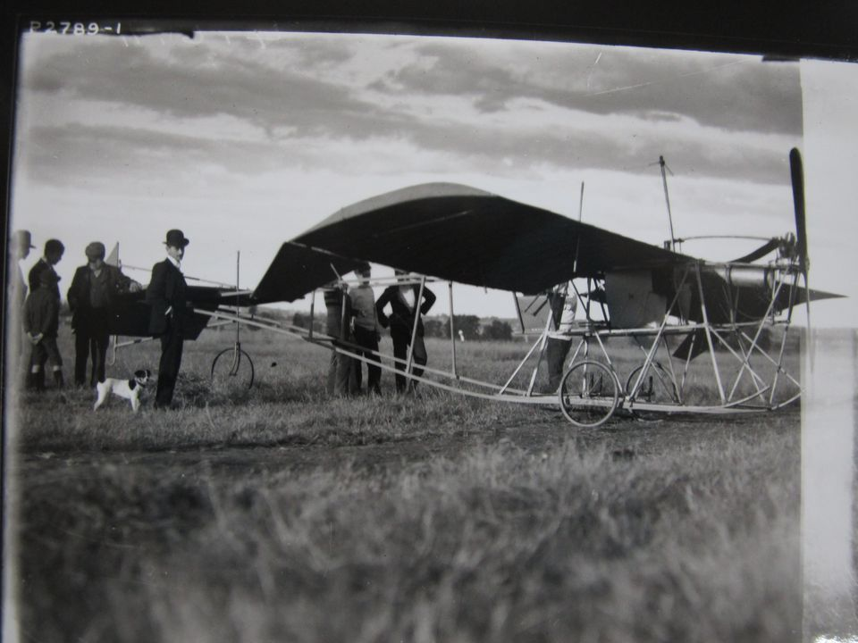 Photograph of L J R  Jones preparing for flight, Emu Plains, NSW, 4