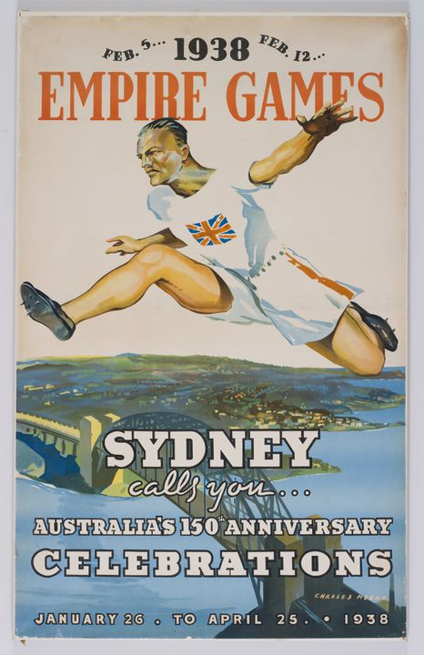 2009/52/3 Poster, '1938 Empire Games / Sydney', colour lithograph on paper, designed by Charles Meere, Sydney, New South Wales, Australia, 1938.. Click to enlarge.