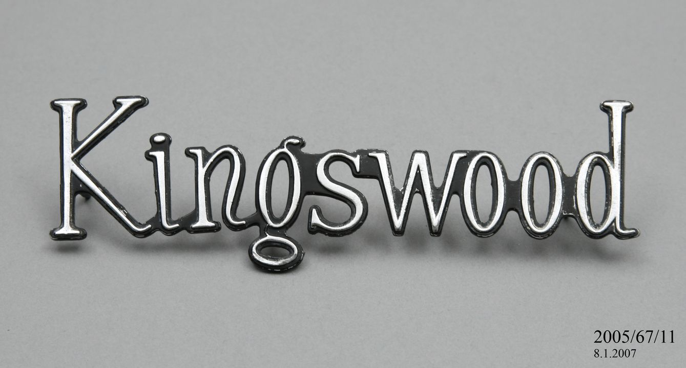 2005/67/11 Automobile badge, Holden HQ 'Kingswood' sedan car badge, metal / enamel, made by General Motors Holden, Australia, 1971-1974. Click to enlarge.