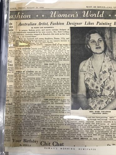 2007/30/1-14/1/30/2 Press clipping, Mary Lou Rothwell, 'Australian Artist, Fashion Designer Likes Painting Best' in The Honolulu Advertiser, Honolulu, Hawaii, United States of America, 25 August 1950