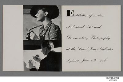 92/191-22/6 Exhibition catalogue, to exhibition of industrial art and documentary photos by Dahl and Geoffrey Collings at the David Jones Gallery, Sydney, New South Wales, Australia, 1939