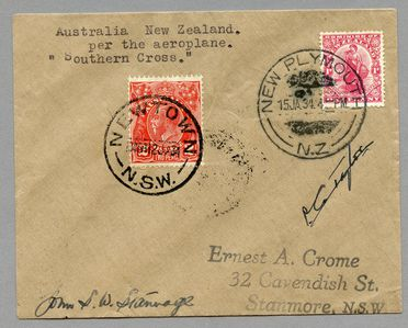 85/112-3 Philatelic cover, Australia to New Zealand on the aircraft 'Southern Cross', paper, sent by E Crome, Sydney, New South Wales, Australia, 1934