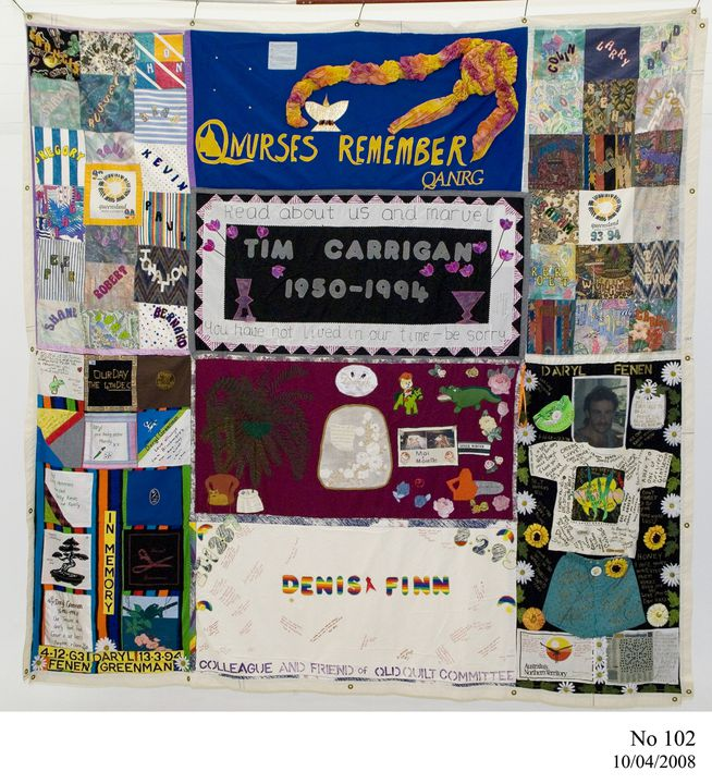2011/109/71 Quilt, Australian AIDS Memorial Quilt, made on behalf of the Queensland AIDS Council 1993-1994, various makers and places of manufacture, Australia, about 1994. Click to enlarge.