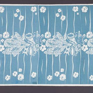 85/2256 Fabric length & screen, 'Seapiece', screenprinted, Frances Burke Fabrics Pty Ltd, Victoria, Australia, 1951