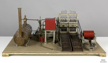 B443 Working model, gold stamper battery with stationary engine and boiler, designed and made by Edward Bennett, Woollahra, New South Wales, Australia, c. 1920
