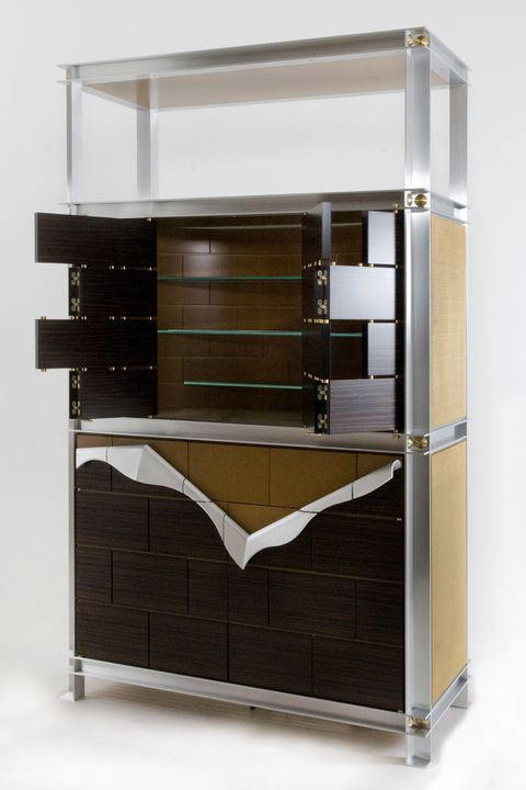 2009/39/2 Credenza, designed for the Powerhouse Museum boardroom, Craftwood / glass / aluminium / brass/Macassa ebony veneer / birch / silver ash / stainless steel/ marble, designed by Iain Halliday of Neil Burley & Partners, made by Harry and Philip Clancy, Sydney, New South Wales, Australia, 1987-. Click to enlarge.