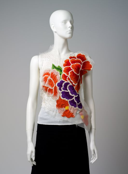 2011/43/78 Singlet, womens, cotton / silk / rayon, made by Bonds, modified by Akira Isogawa, worn by Catherine Martin, Sydney, New South Wales, Australia, c.2003. Click to enlarge.