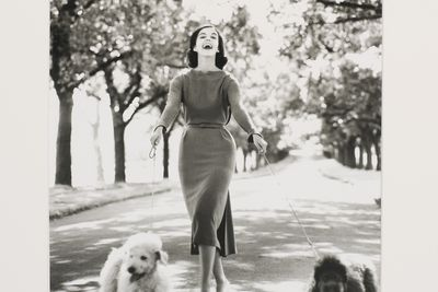 2009/43/1-1/15 Photographic print, black and white, model Margo McKendry with two dogs, fashion by Sharene Creations, location Fitzroy Gardens, by Bruno Benini, Melbourne, Victoria, Australia, 1961