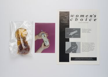 2005/237/2 Contraceptive device and paper components, 'Womens Choice Female Condomme', latex / paper / plastic, made by MD Personal Products Inc, Hayward, California, United States of America, 1993