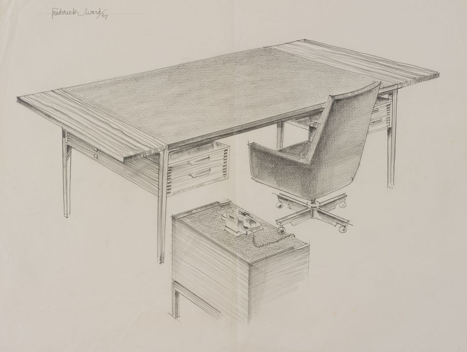 Strange Drawing Of Office Desk With Side Table And Chair By Fred Evergreenethics Interior Chair Design Evergreenethicsorg