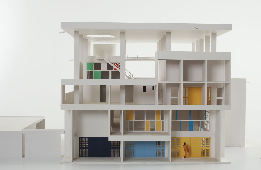 2013/19/1 Architectural model, Villa Shodhan, scale 1:25, MDF wood, designed by Le Corbusier, Chandigarh, India, 1951-1956, made by Iain Scott-Stevenson, mixed media, Powerhouse Museum, Sydney, New South Wales, Australia, 2011-2012. Click to enlarge.